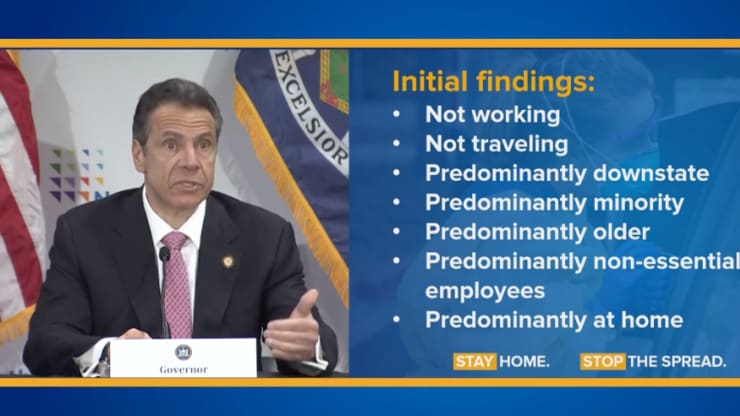 O governador Cuomo detalha as descobertas iniciais da pandemia de coronavírus durante uma coletiva de imprensa em 6 de maio de 2020.